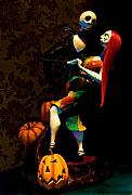 Halloween Digital Art Metal Prints - Jack and Sally Metal Print by Thanh Thuy Nguyen