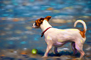 Jack Russell Digital Art - Jack at the Beach by Michelle Wrighton