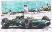 Belgium Drawings - Jack Brabham Brabham Belgium Grand Prix by Paul Guyer