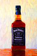 Daniel Framed Prints - Jack Daniels Tennessee Whiskey 80 Proof - Version 1 - Painterly Framed Print by Wingsdomain Art and Photography