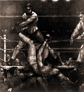 New York Artwork Prints - Jack Dempsey Knocked Out Of The Ring Print by Everett