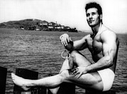 Alcatraz Prints - Jack Lalanne Before Handcuffed Swim Print by Everett