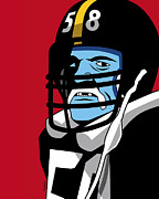 Defense Prints - Jack Lambert Print by Ron Magnes