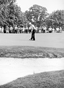 Us Open Golf Photo Framed Prints - Jack Nicklaus drops putt at 1964 US Open at Congressional Country Club Framed Print by Jan Faul