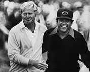 Pro Sports Framed Prints - Jack Nicklaus, Lee Trevino, At The U.s Framed Print by Everett