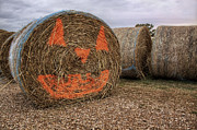 Haybale Photo Prints - Jack-O-Lantern Hayroll Print by Jason Politte