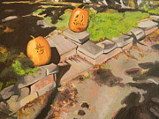 Pumpkins Paintings - Jack o Lanterns by Edith Ross
