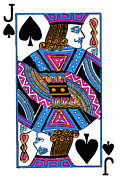 Casino Digital Art Prints - Jack of Spades - v3 Print by Wingsdomain Art and Photography