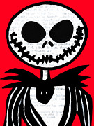 Nightmare Before Christmas Prints - Jack on Red Print by Jera Sky