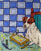 Needlepoint Paintings - Jack Russell Terrier Doing Needlepoint by Jay  Schmetz