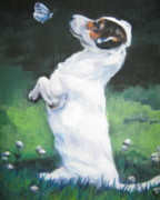 Pets Paintings - Jack Russell Terrier with butterfly by Lee Ann Shepard