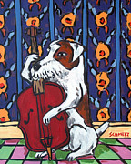 Stand Up Bass Framed Prints - Jack Russll Terrier Playing Stand up Bass Framed Print by Jay  Schmetz