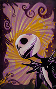 Stencil Framed Prints - Jack Skellington Framed Print by Iosua Tai Taeoalii