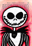 Jack Drawings Posters - Jack Skellington Poster by Jera Sky