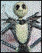 Halloween Mixed Media Prints - Jack Skellington Mosaic Print by Paul Van Scott
