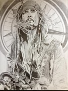 Sparrow Drawings Prints - Jack Sparrow Captain of The Seas Print by Keith Evans