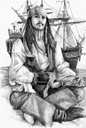 Pirate Ship Drawings Prints - Jack Sparrow. Print by Natali Murashko