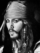 Johnny Drawings Posters - Jack Sparrow Poster by Rick Fortson