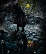 Puddle Digital Art Metal Prints - Jack the ripper Metal Print by Alessandro Della Pietra