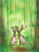 Animal Art Pastels Prints - Jackalope Love Print by Carrie Jackson