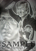 Cartoon Characters Drawings - Jackie Chan And Bruce by Rick Hill