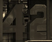 New York Mets Stadium Prints - JACKIE ROBINSON 42 in SEPIA Print by Rob Hans