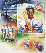 Jackie Robinson Paintings - Jackie Robinson by John Gampert
