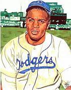 Mlb Drawings - Jackie Robinson by Neal Portnoy