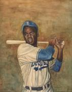 Black History Painting Metal Prints - Jackie Robinson Metal Print by Robert Casilla