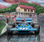 David Kyte Prints - Jackie Stewart at Spa in the Rain Print by David Kyte
