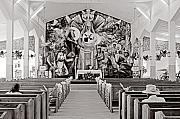 Black And White Religious Art Posters - Jackmel Church-St Lucia Poster by Chester Williams