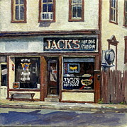 League Painting Prints - Jacks Hot Dogs North Adams Print by Thor Wickstrom