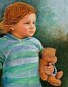 Child Pastels Framed Prints - Jackson and Teddy Framed Print by Susan Jenkins