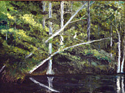 Waccamaw River Paintings - Jackson Bluff on the Waccamaw River by Phil Burton