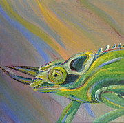 Chameleon Paintings - Jackson Chamelion by Starla Peterson