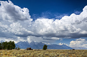 Jackson Hole Photo Framed Prints - Jackson Hole Barn and Clouds Framed Print by Dustin K Ryan