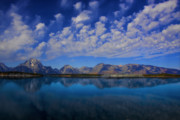 Blue Clouds Colors Lake Landscape Mountain Nature Outdoor Peaceful Acrylic Prints - Jackson Lake Acrylic Print by Mark Smith