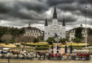 St. Louis Cathedral Framed Prints - Jackson Square New Orleans Framed Print by Don Lovett