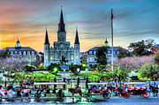 Carriages Posters - Jackson Square Sunset Poster by Ellis C Baldwin
