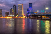 River Greeting Cards Posters - Jacksonville at Dusk Poster by Debra and Dave Vanderlaan