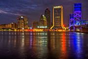 Sunset Greeting Cards Posters - Jacksonville at Night Poster by Debra and Dave Vanderlaan