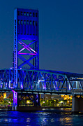 Florida Bridge Photos - Jacksonville Skyline by Debra and Dave Vanderlaan