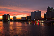 Sunset Greeting Cards Framed Prints - Jacksonville Skyline Night Framed Print by Debra and Dave Vanderlaan