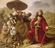 Servants Painting Framed Prints - Jacob Seeking Forgiveness of Esau Framed Print by Jan Victoors