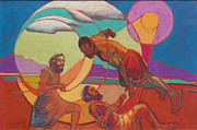 Wrestling Painting Originals - Jacob Wrestling with the Angel by Suzanne Giuriati-Cerny