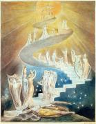 Staircase Painting Posters - Jacobs Ladder Poster by William Blake