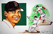 Mlb Metal Prints - Jacoby Ellsbury Metal Print by Dave Olsen