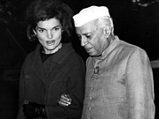 Leather Gloves Prints - Jacqueline Kennedy, And Indian Prime Print by Everett