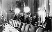 First Lady Photo Framed Prints - Jacqueline Kennedy And Television Crew Framed Print by Everett