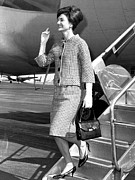 Tweed Suit Posters - Jacqueline Kennedy Arriving In New York Poster by Everett